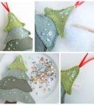 Идея елки из фетра разных цветов