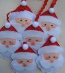 Игрушка голова Деда Мороза из фетра