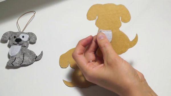 Изготовление собаки из фетра