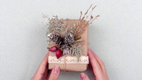 Новогодняя упаковка подарка