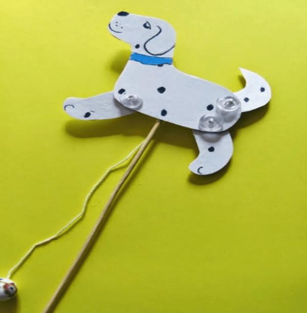 Подвижная игрушка из картона — бегущий щенок