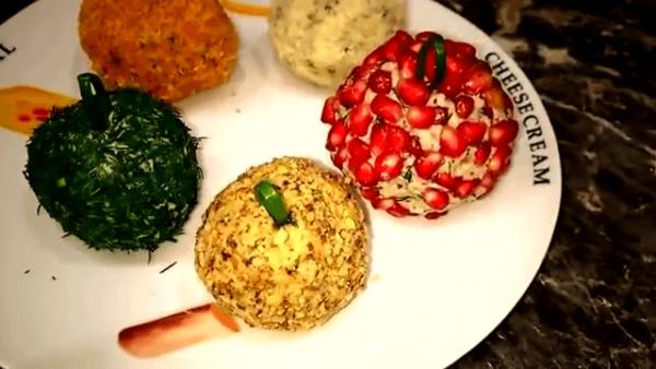 Разноцветная закуска Елочные шары