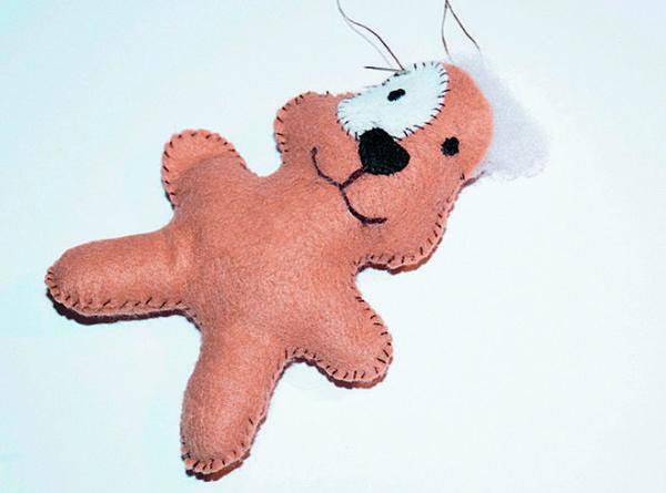 Сборка игрушки собаки из фетра