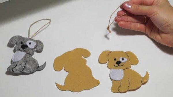 Изготовление новогодней игрушки собаки из фетра