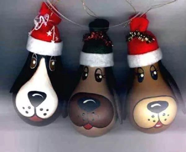 Новогодние собаки из лампочек