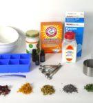 Ингредиенты и материалы для приготовления «гейзера» с травами
