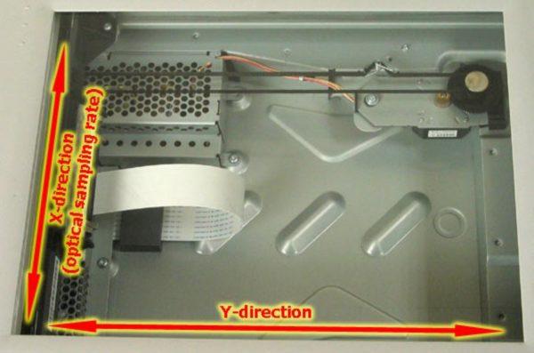Расположение протяжного механизма в корпусе сканера