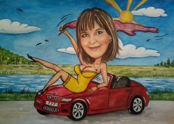 Шарж: девушка сидит на капоте красной машины на фоне моря