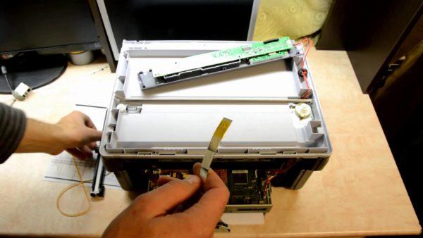 Замена лампы сканера