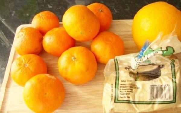 апельсин, мандарины и сахар