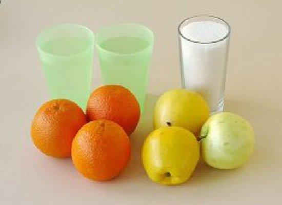 мандарины, яблоки, вода и сахар