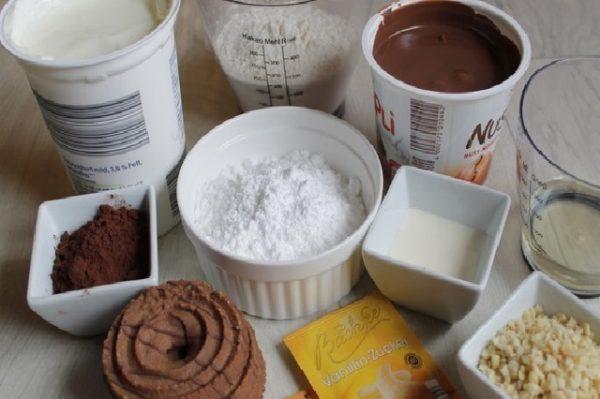 Мука, какао, йогурт, масло, печенье, сливки, шоколадная паста