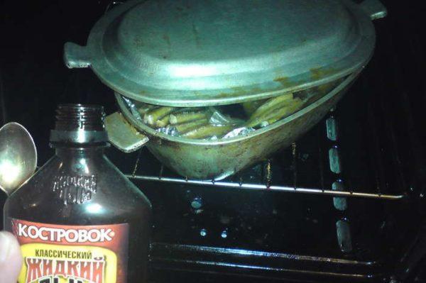 Посуда с рыбой в духовке и жидкий дым