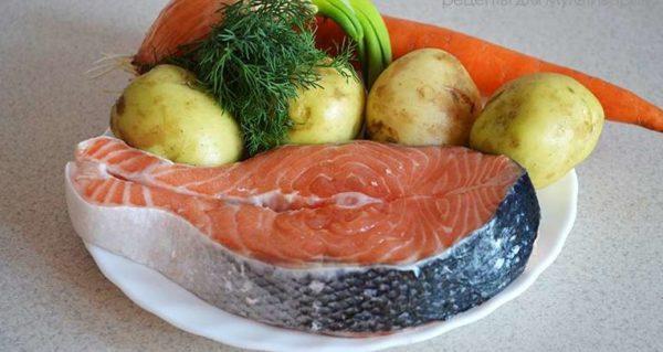 Сёмга, овощи и зелень
