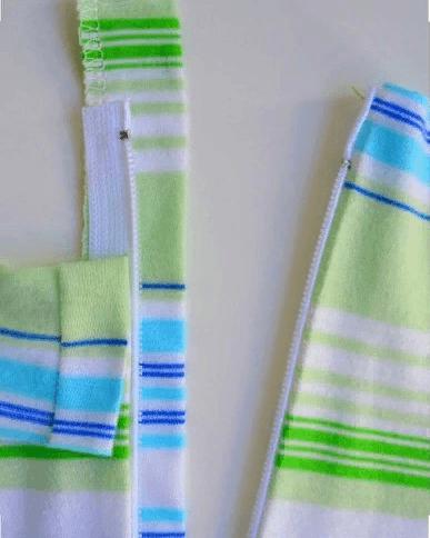 Пришивание защитной полоски к изделию