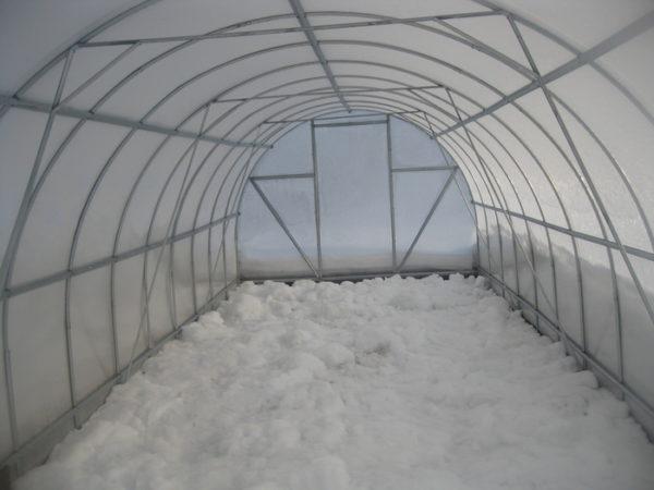 Теплица внутри зимой