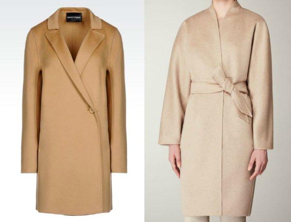 Бежевое и белое кашемировое пальто