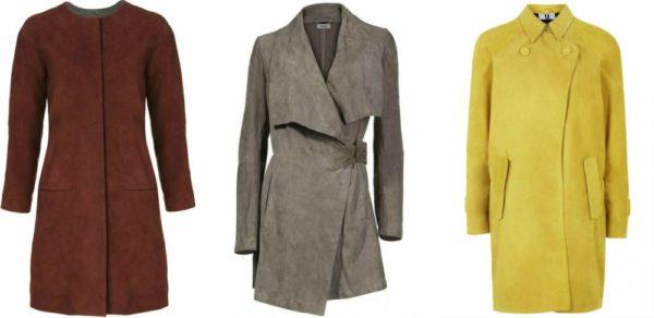 Коричневое, серое и жёлтое пальто из замши