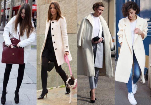 Пальто светлых оттенков на девушках