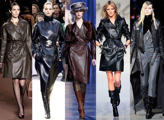 Пять девушек на подиуме в кожаных пальто