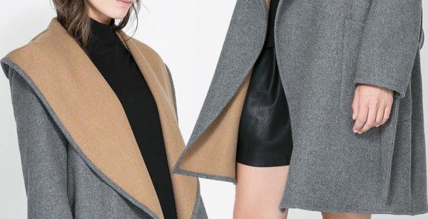 Серое драповое пальто с бежевой подкладкой