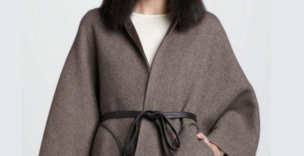 Серое шерстяное пальто под пояс