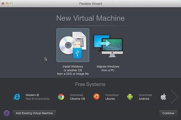 Установка виртуальной машины Windows в Parallels Desktop