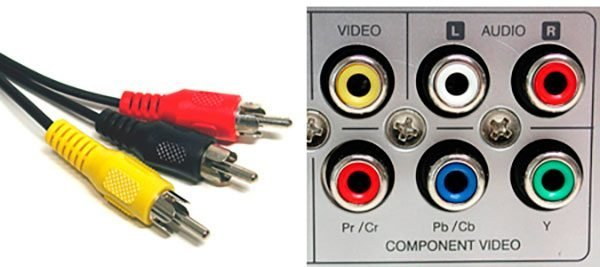 Стандартные цвета разъёмов кабеля AV