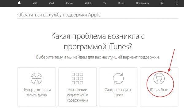 Окно обращения в службу поддержки Apple