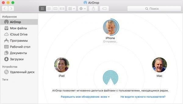 Главное окно AirDrop Mac