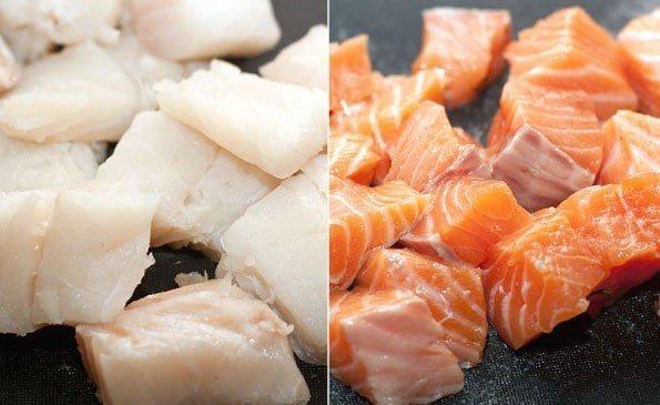 Филе белой и красной рыбы