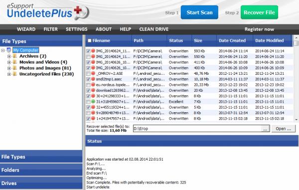Интерфейс программы Undelete Plus