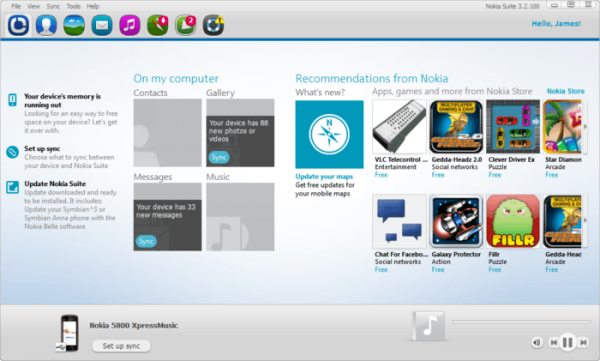 Программа Nokia PC Suite
