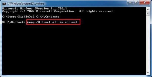 Объединение контактов в один файл