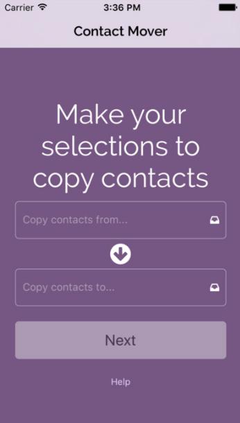 Перенос контактов через Mover