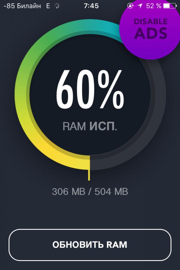 Данные RAM Monitor после очистки кэша