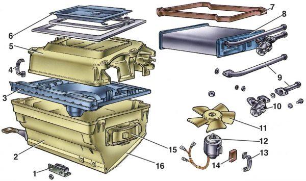Схему устройства печки на ВАЗ 2104, 2105, 2107