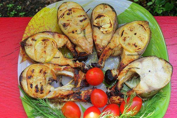 Стейки толстолобика на мангале с помидорами черри и свежим укропом