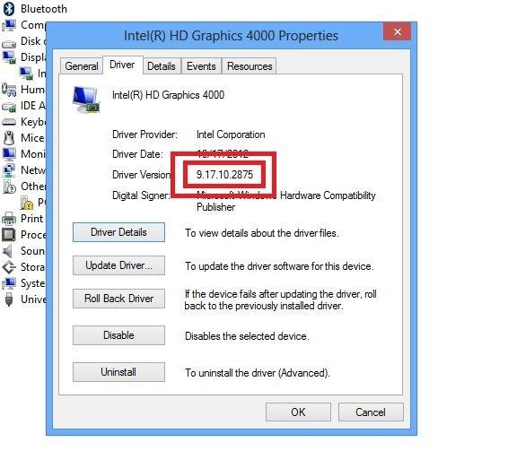Свойства установленного драйвера Intel в Windows