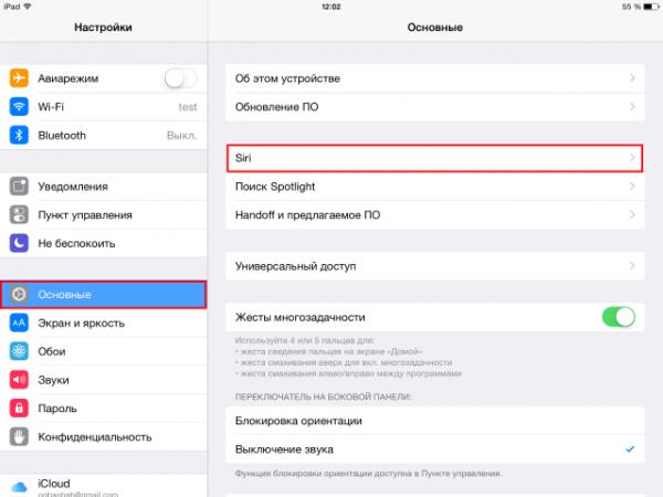 Вход в настройки Siri на iPad