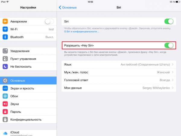 Включение ключевых функций Siri на iPad