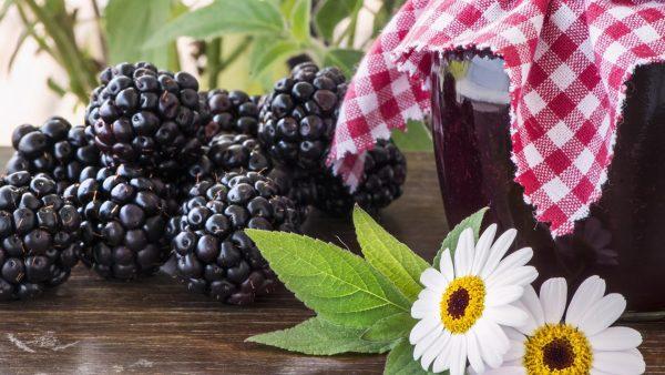 Ежевичное варенье и свежие ягоды