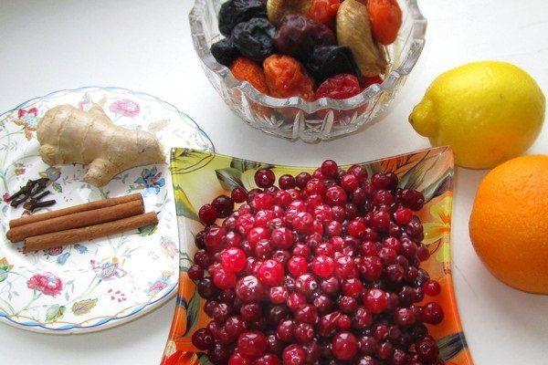 Клюква, цитрусовые, корица