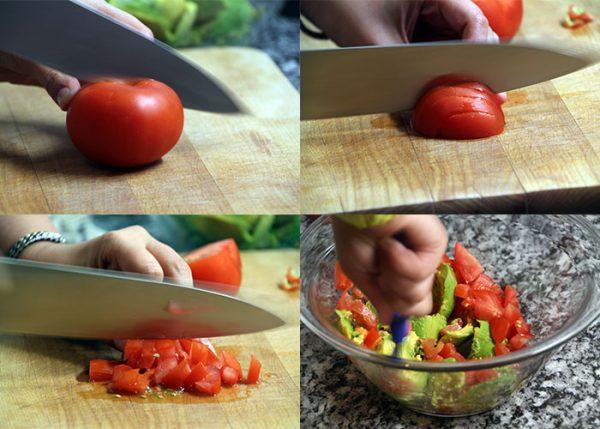 нарезание помидора