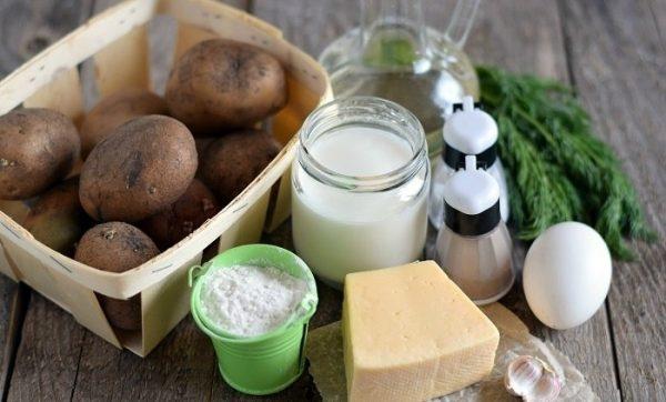 Продукты для картофельных драников с сыром