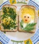 яичница в хлебе — солнышком