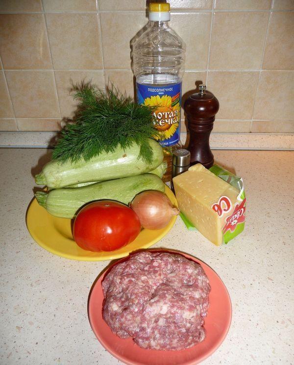 Продукты для приготовления кабачков с фаршем в духовке