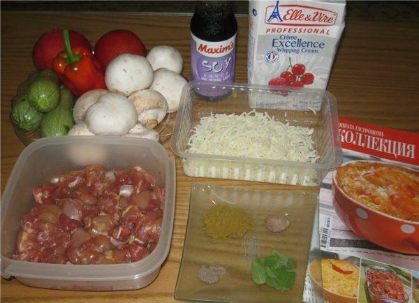 Продукты для запеканки из кабачков, курицы и грибов
