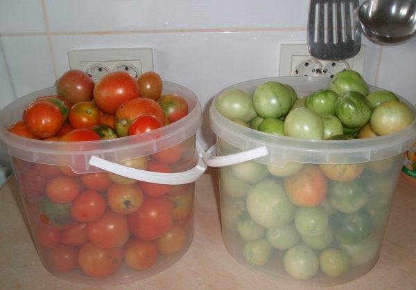Вёдра с помидорами