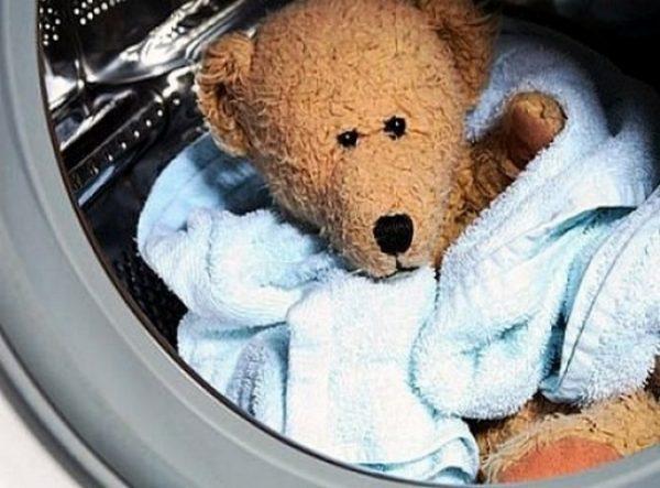 игрушечный медведь в стиральной машине